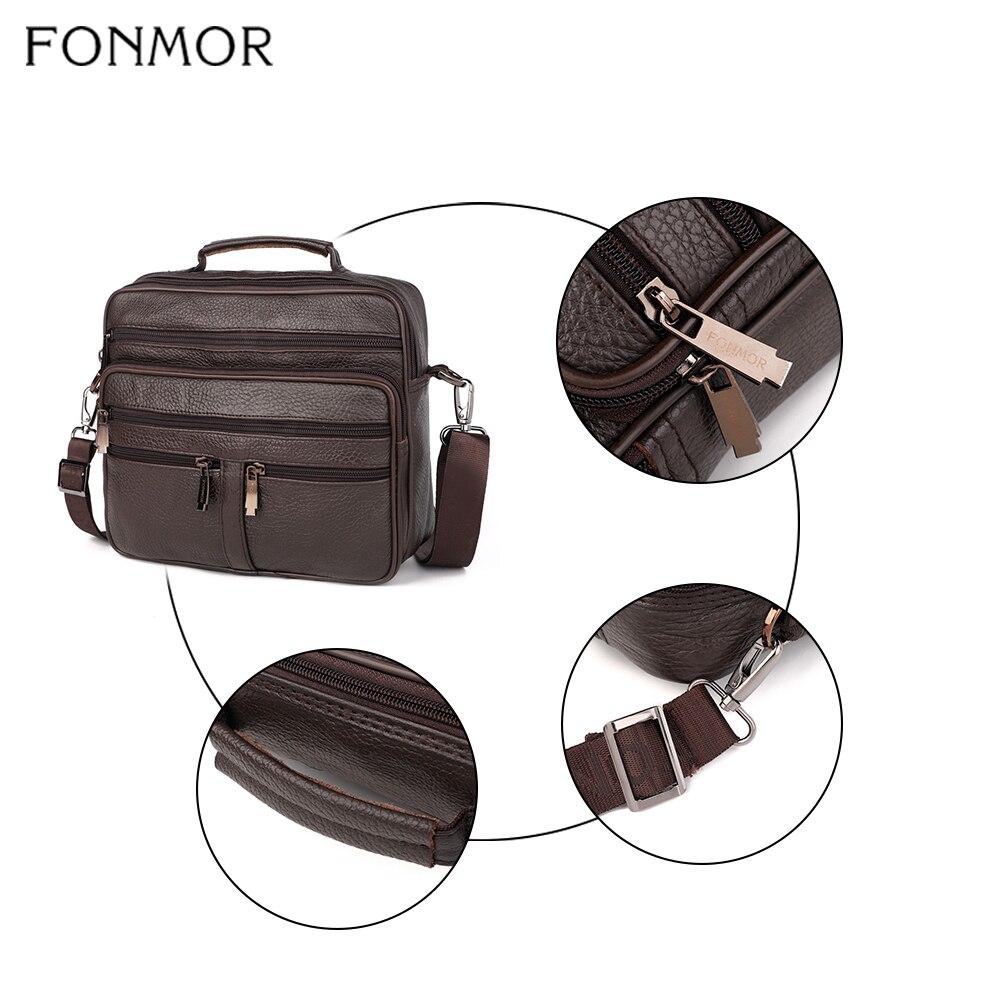 Image 4 - Fonmor Genuine Leather Briefcase Male Laptop Cowhide Bag For Men  Messenger Shoulder Bags Business Crossbody Bag Multi Zip  PocketBriefcases