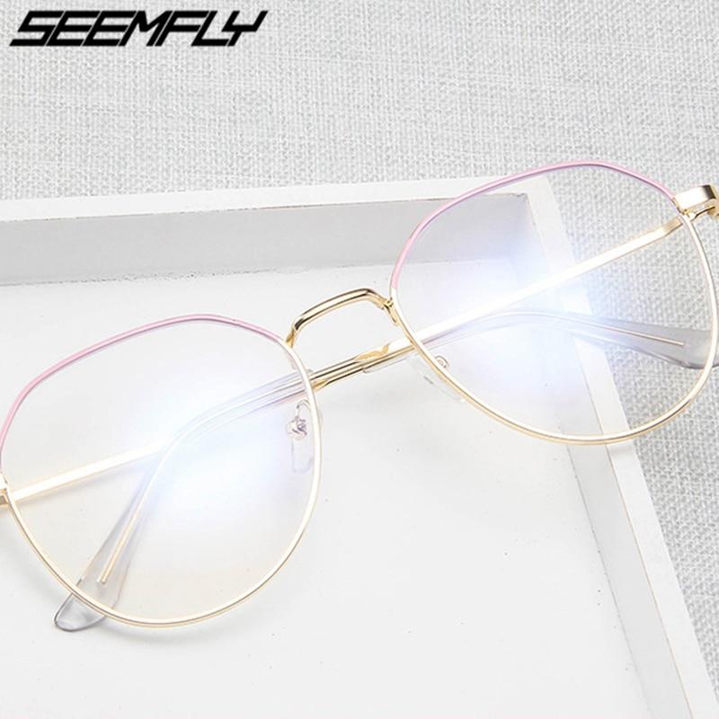 Seemfly Polygon Metal Anti Blue Light Blocking Glasses Frame Men Women Computer Games Goggles Eyeglasses Optical Spectacle Frame