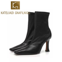 KATELVADI Sexy High Heel Boots Women's Luxury Designers Ankle Boots 9CM Thin Heels For Women Boots Autumn K-538 цена и фото