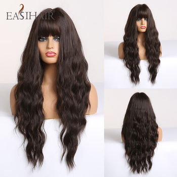 EASIHAIR Long Wave Dark Brown Synthetic Wigs for Women Cosplay With Bangs Heat Resistant Pink High Temperature Fiber - discount item  50% OFF Synthetic Hair