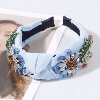 Embroidery Flower Crystal Rhinestone Top Knotted Hairbands 4