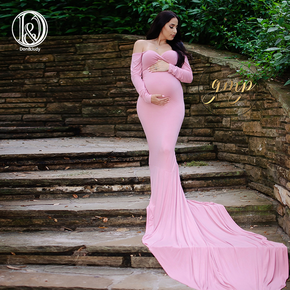 Don Judy Long Sleeve Maternity Gown Cotton Maxi Dress Pregnant Women Clothes Photography Pregnancy Dress Maternity Dresses Maternity Photography Maternity Photography Dressmaternity Photo Props Aliexpress