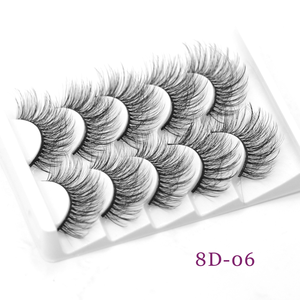 DamePapil 5 Pairs Faux Mink Eyelashes Lot Hand Made Full Strip 3d 5d 6d 8d Thick Fluffy Wispy Long Fake Eyelashes For Cosmetics