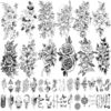 42 Sheets 3D Flowers Temporary Tattoos for Women,Fake Tattoos Body Art Arm Sketch Tattoo Stickers for Women and Girls
