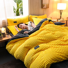 Pillowcase Bedding-Set Bedspread Duvet-Cover Flat-Sheet Fleece Stripe Solid-Color Warm