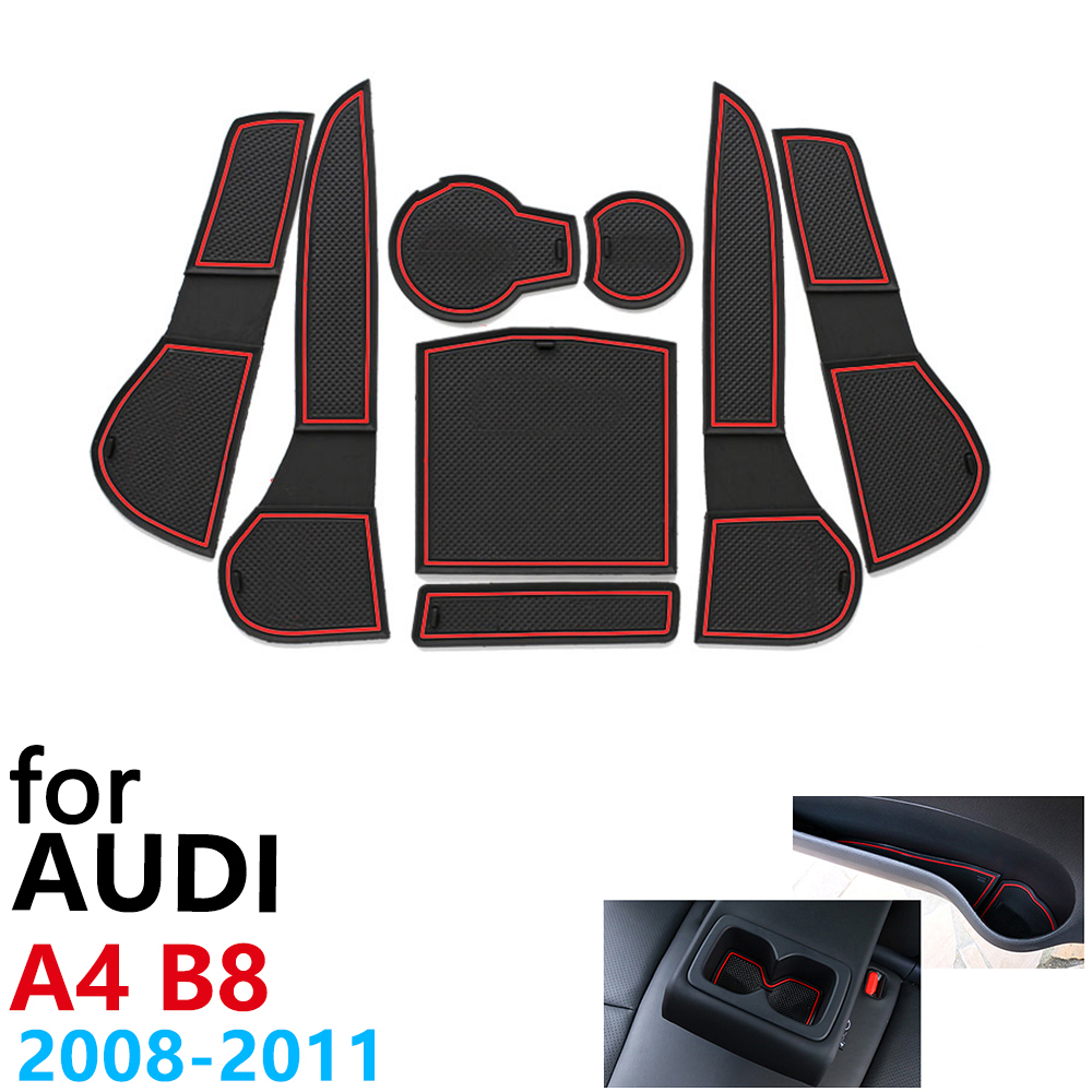 Anti-Slip Rubber Cup Cushion Door Groove Mat For Audi A4 B8 8K RS4 S4 S Line RS 4 Interior 2008 ~2011 Accessories Mat For Phone