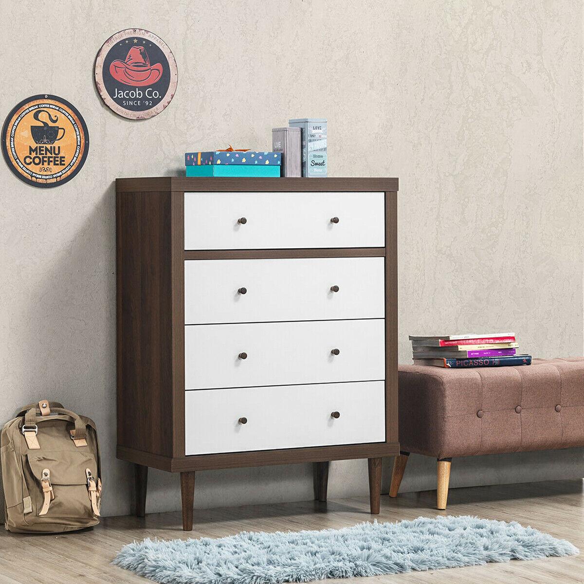 4 Drawer Dresser Wooden Chest Storage