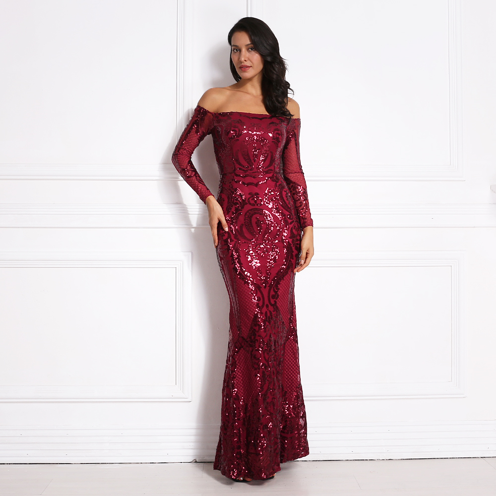 Stretchy Slash Neck Sequined Maxi Dress Off The Shoulder Full Sleeved Party Dresses Gold Dinner Dress Gown Burgundy Green Gold