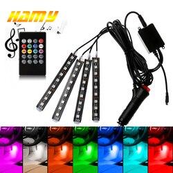 Car USB LED RGB Atmosphere Strip Light Remote voice control Interior Styling Decorative RGB LED Dynamic ambient Strip Light