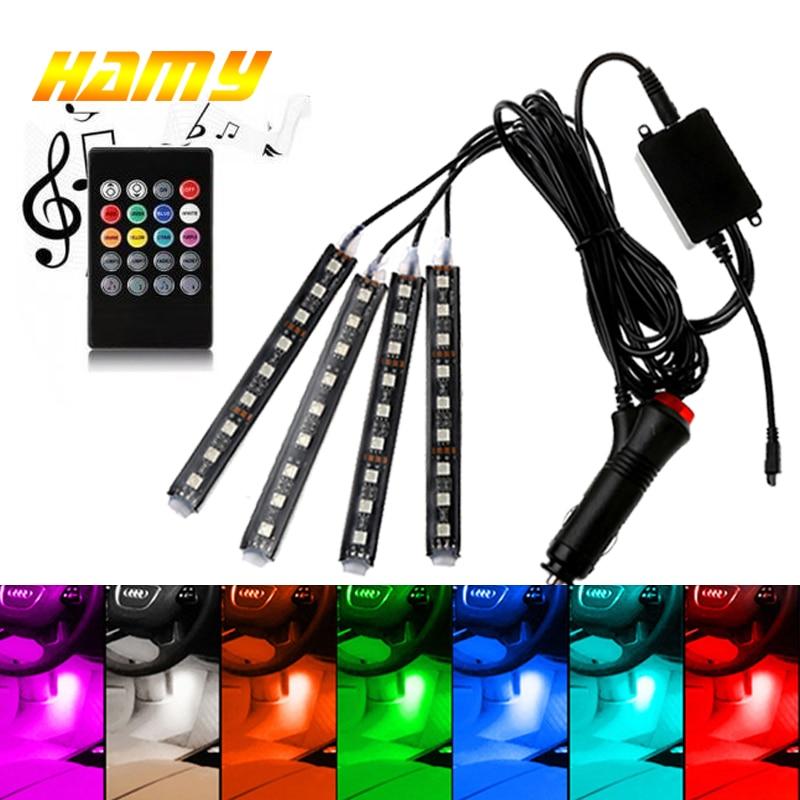 Samochód USB LED RGB atmosfera Strip światło zdalne sterowanie głosem wnętrze stylizacja dekoracyjna RGB LED dynamiczne światło otoczenia Strip