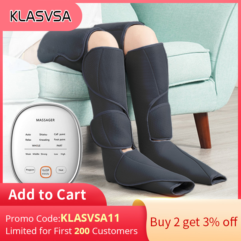 KLASVSA Leg Air Compression Massager Heated for Foot and Calf Thigh Circulation with Handheld Controller 2 Modes 3 Intensities Leg Massage Apparatus  - AliExpress