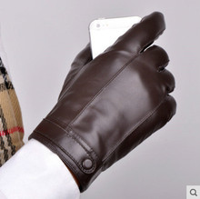 Genuine Leather Glove Man Winter Drive A Car Increase Down Thickening Keep Warm Ride Bike Sheep Thin Skin Touch Screen