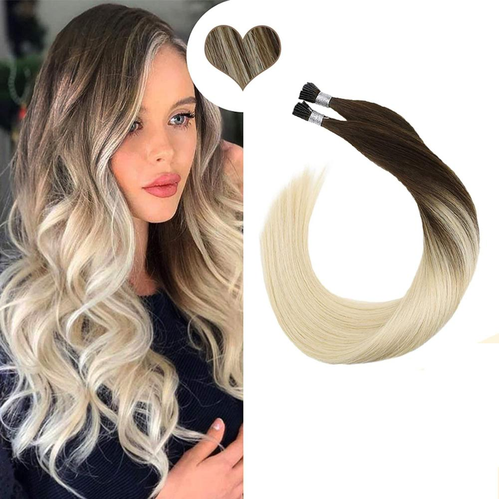 Ugeat Micro Ring 100/% Human Hair Extensions Pre Bonded Micro Loop Red Wine 50g