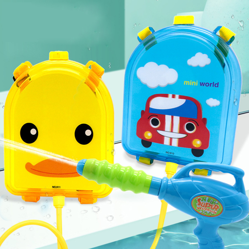 Children s beach water toy transparent backpack water gun boys and Girls Summer pull water gun