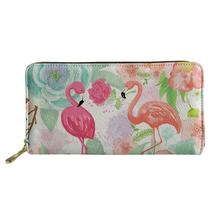 HaoYun Women Long Wallets Caroon Change Coin Purse Flower Flamingos Animal Print Pattern PU Leather Travel Passport Pockets джемпер caroon