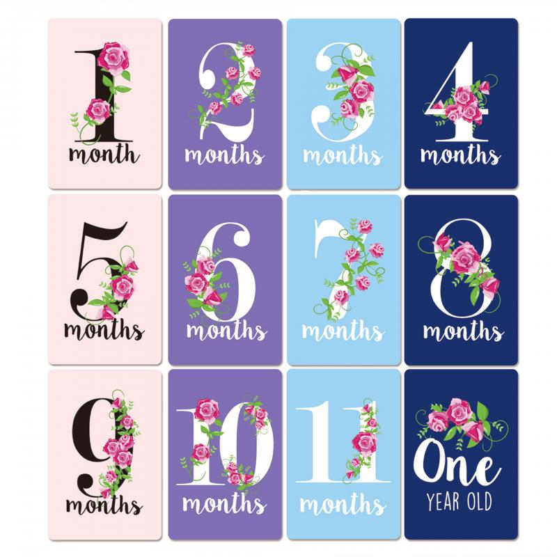 12pcs Month Sticker Rose Flower Baby Growth Commemorative Photo Prop Child Milestone Pregnant Woman Month Sticker