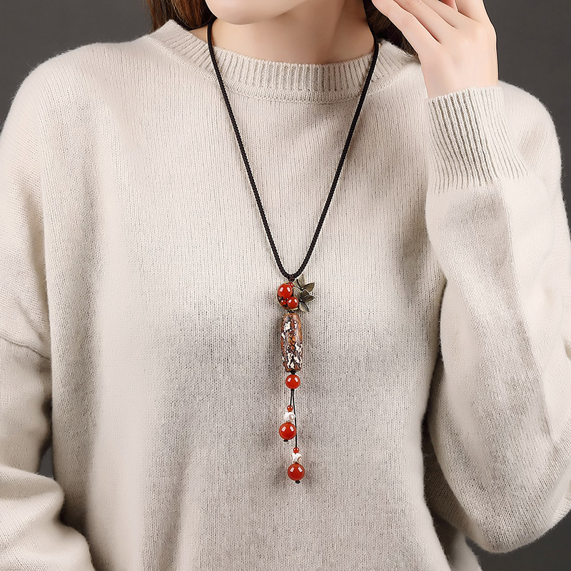 Fashion Ethnic China Tassel-Beads Stone Pendant Necklace For Women Adjustable Long Chain Necklace For Lady Girls Best Gift