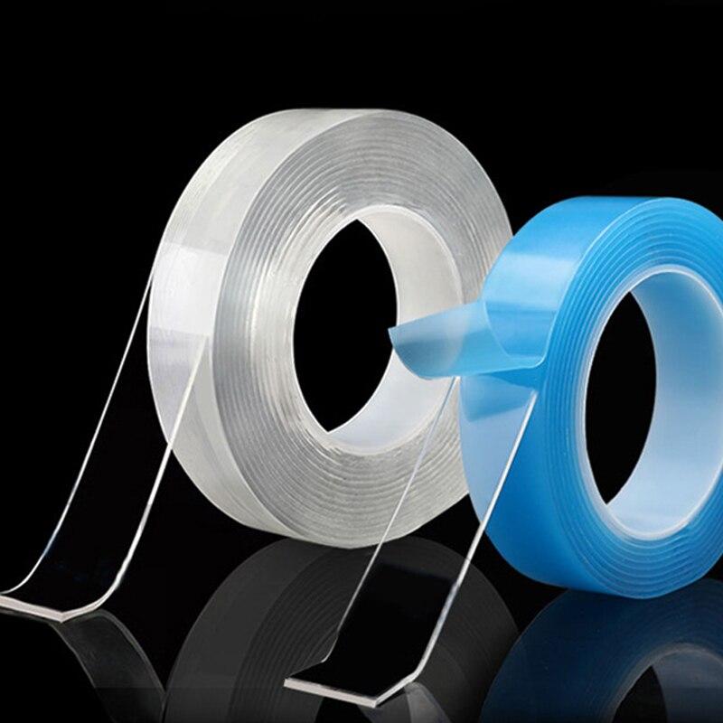 Прозрачная двухсторонняя лента без следов 1/2/3/5 м, наноклейкая двусторонняя акриловая многоразовая универсальная лента Tekko, клейкая лента