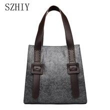 Vintage Handbag Monederos Para Mujer Minimalist Big Shoulder Bag Women High Capacity Business Button Atmosphere 2020 Tote Black