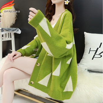 New 2020 Women's Sweaters Autumn Winter Casual Long V-Neck Cardigans Single Button Cardigan Women Long Sleeve Loose Sweater 2020 long cardigan women sweater autumn winter bat sleeve knitted sweater plus size jacket loose ladies sweaters cardigans