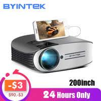 BYINTEK marka MOON M7 200 calowy projektor led kina domowego HD dla Iphone SmartPhone Full HD 1080P