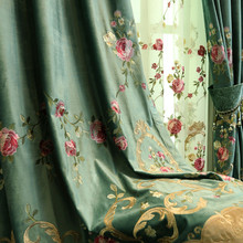European Minimalist Modern Luxury Embroidery Shading Curtains for Living Dining Room Bedroom