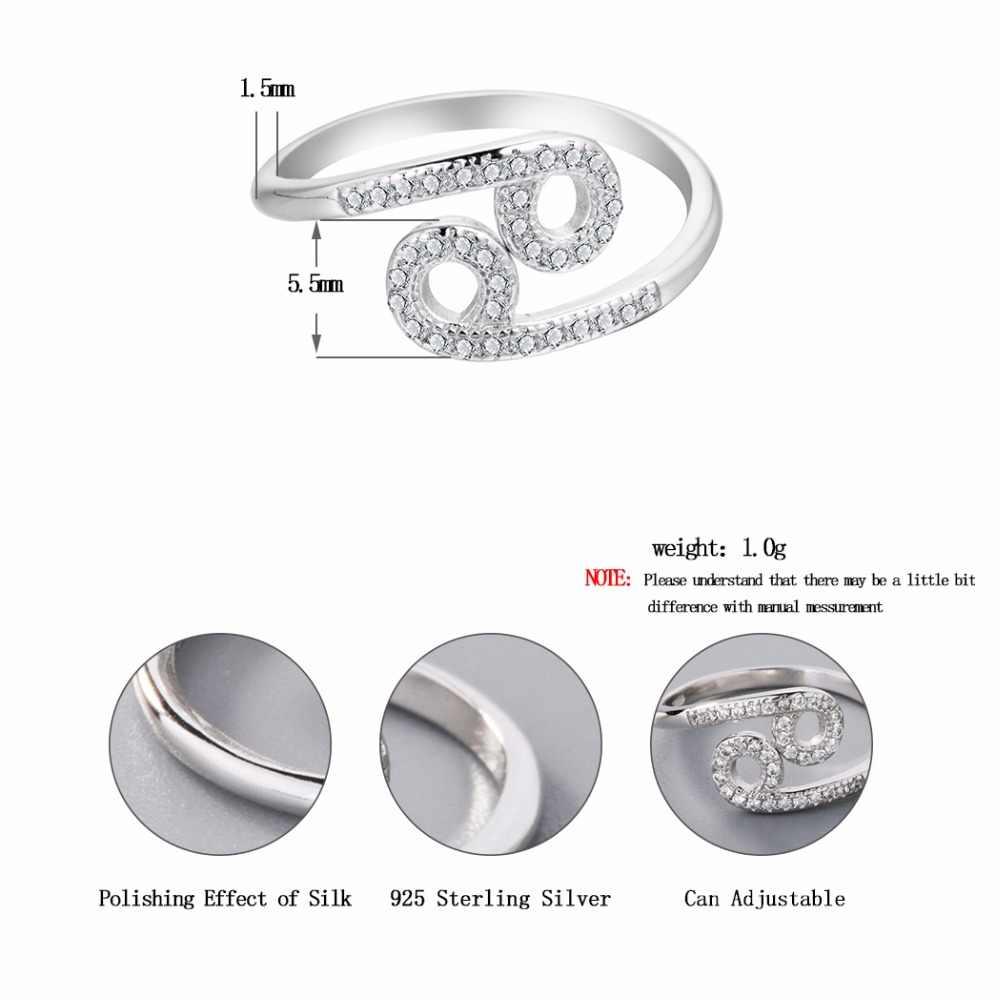 Кольца из Созвездие зодиака с раком, украшенные кристаллами, двойной Круглый Циркон, регулируемое модное кольцо, рождественские украшения, подарок на день рождения для девочек