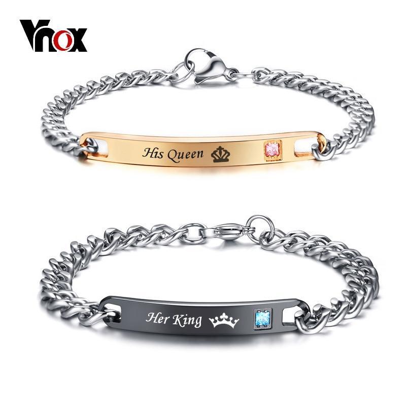 Vnox son et son ensemble assorti Couple Bracelet acier inoxydable sa reine son roi promesse amoureux Bracelets cadeau