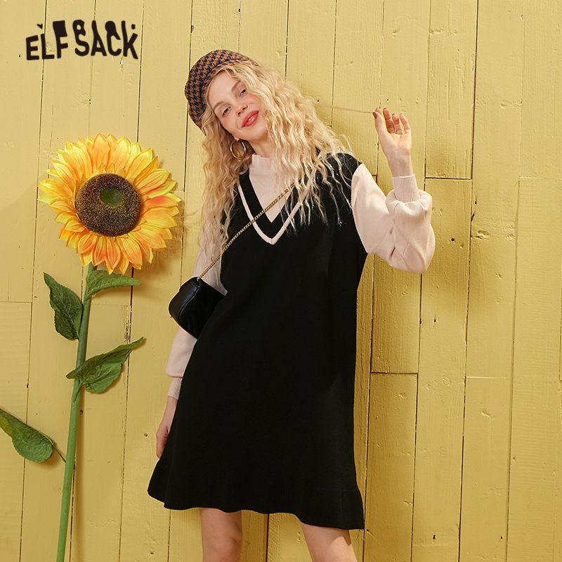 ELFSACK Black Solid Ruffles Korean Casual Knit Short Dress Women 2020 Spring New Pink Lantern Sleeve Preppy Girly Daily Dresses