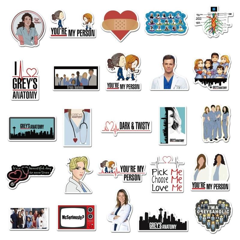 50pcs TV Show Greys Anatomy Waterproof Stickers Kids Toy Sticker for DIY Luggage Laptop Skateboard Car Decor Funny Sticker