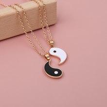 1 par tai chi emparelhado pingente casal colares para os amantes melhores amigos yin yang longo corrente de ouro colar moda jóias presentes