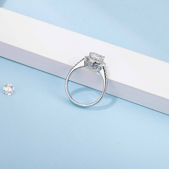 BOEYCJR 925 Silver Heart 1ct F color Moissanite VVS1 Elegant  Engagement Wedding Ring With national certificate for Women Gift 4