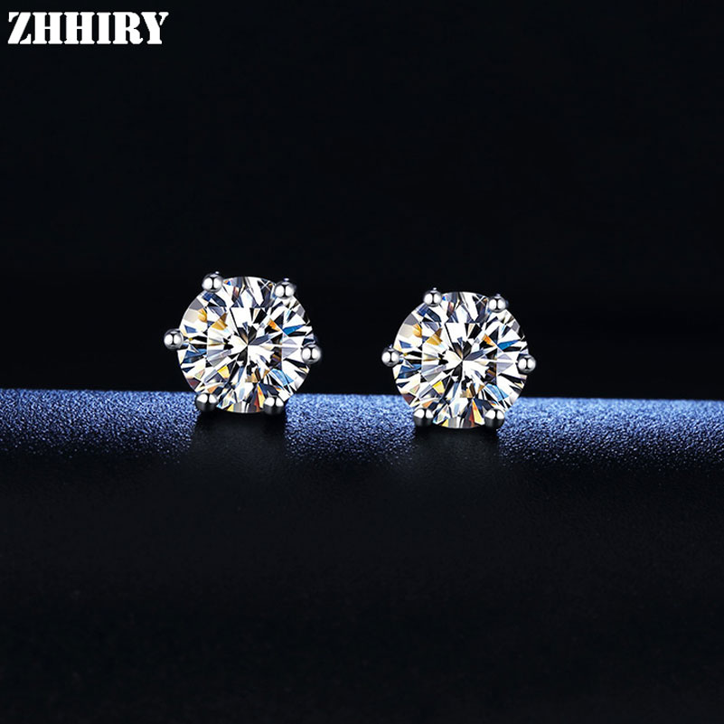 ZHHIRY Real Moissanite 925 Sterling Silver Earrings For Women Stud Earring Total 4ct D VVS Gem With Certificate Fine Jewelry