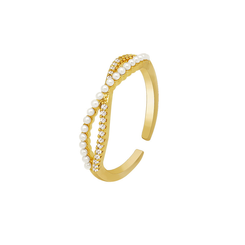 2020 South Korean New Cross Bow Pearl Ring Female Fashion Temperament Personality Adjustable Opening Forefinger Ring