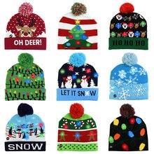 Chapéu de natal led camisola de malha beanie natal light up chapéu de malha presente de natal para crianças natal decorações de ano novo