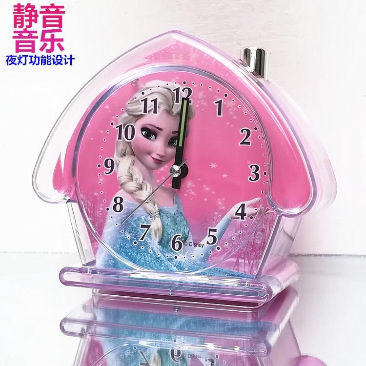 Дисней мультфильм Снег Белый дети будильник часы Девочки спальня немой световой Холодное сердце Часы