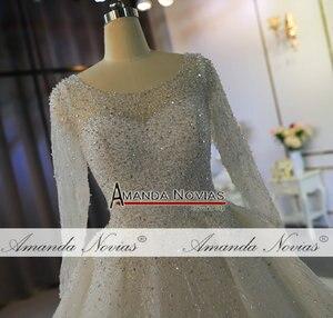 Image 5 - Heavy beading long sleeves wedding dress off white color custom order high quality bridal dress