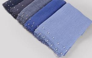 Image 5 - Plain Women Hijab Scarf Female Bubble Cotton Beading Headscarf Wrap Fringe Crumple Muslim Scarves/Scarf Oversize shawls 180x95cm