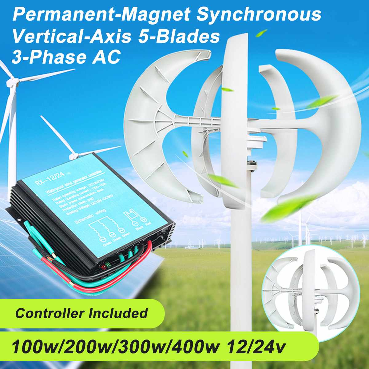 100w/200w/300w/400W 12V/24V Vertical Axis Wind Turbine Generator VAWT Boat Garden with Controller Home Residential