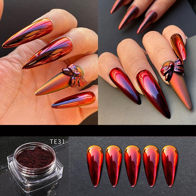 Nail Art Chalk Mirror Powder Metallic Nail Glitter Holographics Chrome Dust Sparkling Flakes Pigment Manicur Nail
