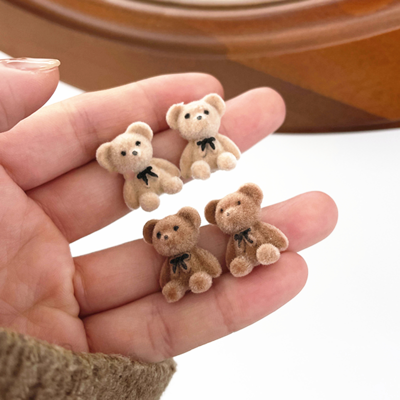 New Korean Kawaii Funny Plush Small Stud Earrings Cute Bow Bear Statement Dainty Earring Fashion Jewelry 2021 Brincos Wholesale