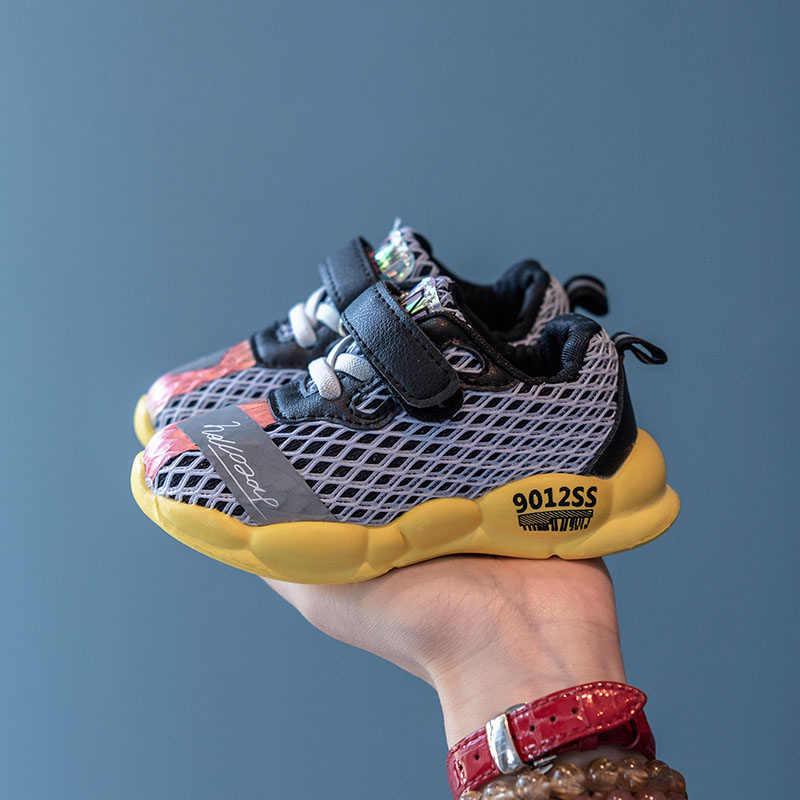 Çocuk ayakkabıları 2019 Çocuklar Yeni koşu ayakkabıları Erkek Sonbahar Moda Siyah Yumuşak Ayakkabı Kız Çocuk Örgü Nefes Rahat spor ayakkabı