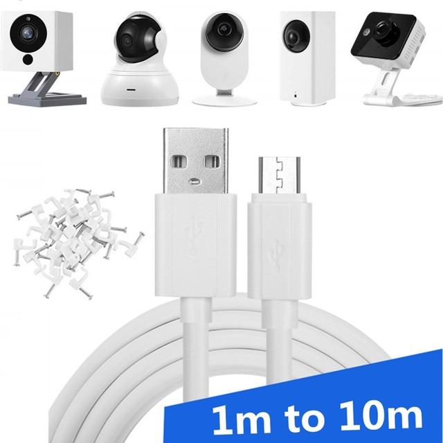 360 xiaomimi, xiaobai, câmera inteligente de monitoramento do afang, fonte de alimentação de celular e fio de dados android estendido 3m 5m 10m cabo