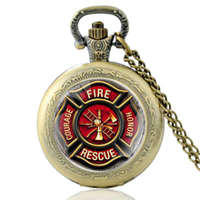 High Quality Vintage Fire Rescue Courage Honor Glass Dome Quartz Pocket Watch Classic Men Women Necklace Pendant Gifts