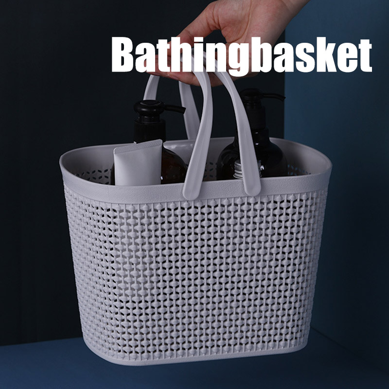 Portable Bath Laundry Basket Bathroom Toiletries Storage Basket Plastic Box DC120