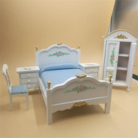 Wooden Dollhouse Miniature Furniture Toys Set For Kids Pretend Play bed Rooms Set house play Dolls Toys Free Shipping