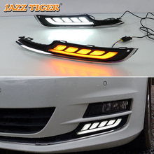 цена на JAZZ TIGER Yellow Turn Signal Function 12V Car DRL LED Daytime Running Light Daylight For Volkswagen Golf 7 MK7 2015 2016 2017
