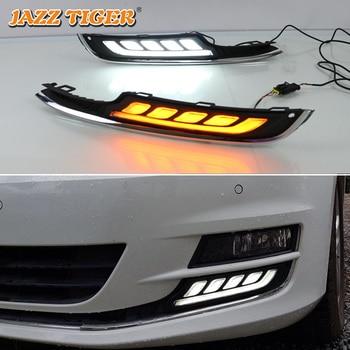 JAZZ TIGER Yellow Turn Signal Function 12V Car DRL LED Daytime Running Light Daylight For Volkswagen Golf 7 MK7 2015 2016 2017 цена 2017