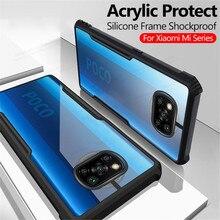 غلاف خلفي مقاوم للصدمات من الأكريليك لهاتف شاومي بوكو X3 NFC M3 Mi 11 10T Lite Note 10 Pro غطاء حماية من السيلكون الشفاف