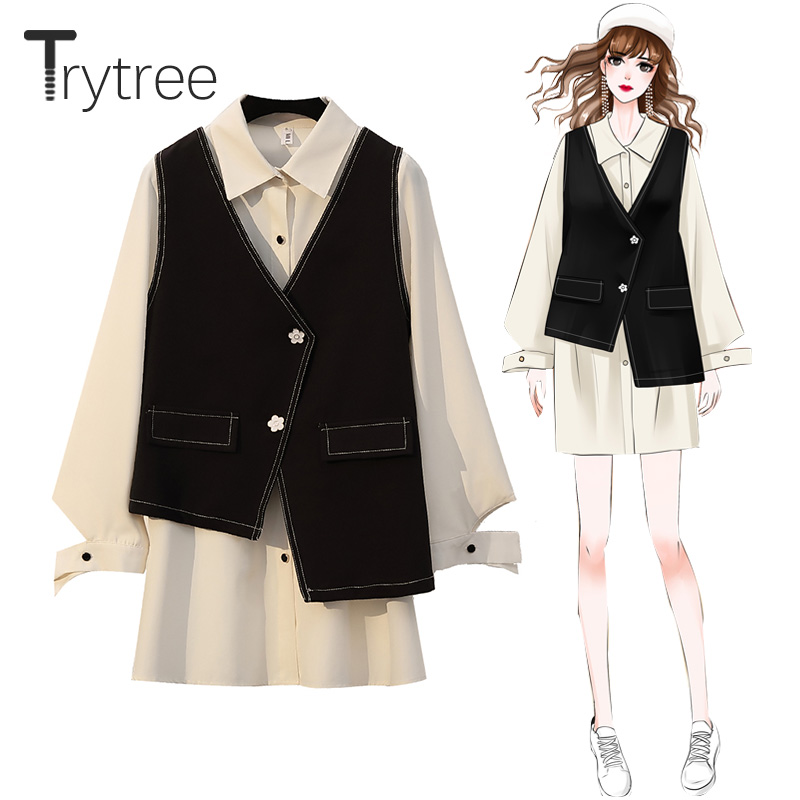 Trytree Autumn Two Piece Set Casual Turn-down Collar Single Breasted White Long Blouse + Vest Black Button Loose 2 Piece Set